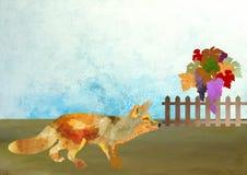 Le Fox et le vignoble Photos stock