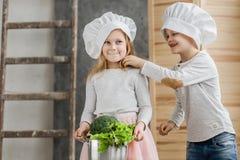 Le frère et la soeur sont des chefs Plein pot de légumes Nourriture saine légumes famille Image stock
