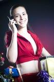 le för julflicka Fotografering för Bildbyråer
