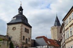 Le Frauentor dans Muehlhausen, Allemagne image stock