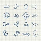 Le frecce disegnate a mano di vettore hanno impostato Immagini Stock Libere da Diritti