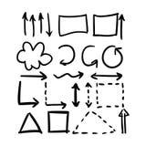 Le frecce disegnate a mano di vettore hanno messo le collezioni illustrazione di stock