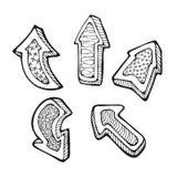 Le frecce doodle l'insieme illustrazione vettoriale