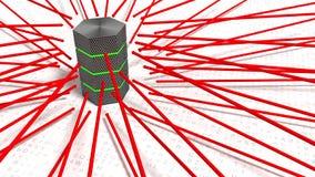 Le frecce rosse che indicano verso una forza bruta del server attaccano il concetto Fotografia Stock
