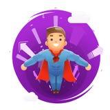 Le frecce sveglie felici volanti del carattere del supereroe scavano una galleria l'illustrazione piana di vettore di progettazio royalty illustrazione gratis