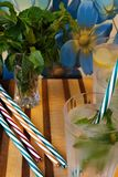 Le froid boit avec le citron et les pailles en bon état et rayées Photos stock