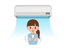 Le froid veulent des femmes à la climatisation du vent Photo stock