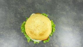 Le fromage de boeuf d'hamburger étaye la décoration avec de la salade verte photos libres de droits
