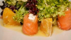 Le fromage de salade et saumoné fondus tourne sur un plan rapproché blanc de plat Nourriture nutritive saine Ingrédients intéress banque de vidéos