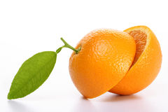 le fruit divise en deux l'orange Photographie stock libre de droits