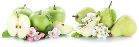 Le fruit frais de poires de pommes d'Apple et de poire verdissent l'isola de tranche de fruits Photographie stock libre de droits