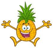 Le fruit heureux d'ananas avec le vert pousse des feuilles caractère de mascotte de bande dessinée avec sauter ouvert de bras Photos libres de droits