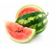 Le fruit mûr de la pastèque avec le lobule est isolé Image libre de droits