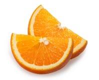 Le fruit orange découpe le fond en tranches blanc images libres de droits