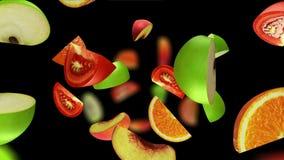 Le fruit segmente la chute sur le fond noir, l'illustration 3d Photographie stock