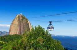 Le funiculaire à Sugar Loaf en Rio de Janeiro images libres de droits