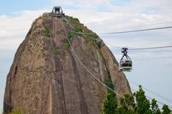 Le funiculaire au pain de sucre dans Rio de Janeiro images libres de droits