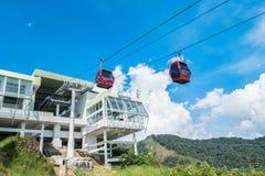 Le funiculaire d'Awana Skyway est un système d'ascenseur de gondole reliant Chin Swee Temple, hub de transport d'Awana et SkyAven photographie stock libre de droits