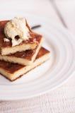 Le gâteau au fromage de morceaux et une crème, versent le miel Images libres de droits
