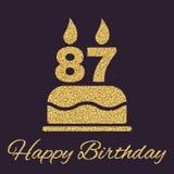 Le gâteau d'anniversaire avec des bougies sous forme d'icône du numéro 87 symbole d'anniversaire Étincelles et scintillement d'or Photo libre de droits