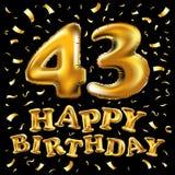 Le gâteau d'anniversaire avec des bougies sous forme d'icône du numéro 43 symbole d'anniversaire Étincelles d'or et illustration  illustration de vecteur
