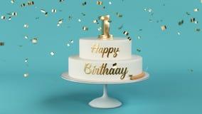 Le gâteau d'anniversaire avec les lettres d'or et numéro 1 sur l'animation supérieure banque de vidéos