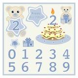 Le gâteau d'anniversaire et le bébé garçon mignon de vecteur de bougie soutient l'illustration de vecteur avec l'étoile et numéro illustration stock