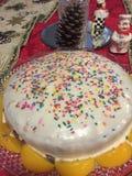 Le gâteau d'arc-en-ciel décoré de la pêche et arrose photo libre de droits