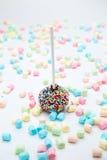 Le gâteau de 'brownie' saute avec les perles et la guimauve de sucre de couleur Image stock