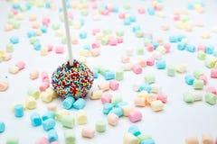 Le gâteau de 'brownie' saute avec les perles et la guimauve de sucre de couleur Photo stock