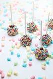Le gâteau de 'brownie' saute avec les perles et la guimauve de sucre de couleur Photos stock