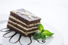Le gâteau de chocolat avec de la crème et le chocolat tourbillonne du plat blanc, dessert doux, la pâtisserie, photographie pour  Photographie stock libre de droits
