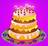 Le gâteau de fête avec la bougie brûlante Image stock