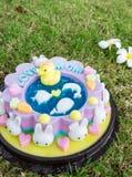 Le gâteau de gelée décorent de l'animal de bande dessinée célèbrent pour le d de la mère Images stock