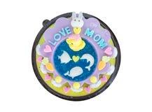 Le gâteau de gelée décorent de l'animal de bande dessinée célèbrent pour le d de la mère Image stock