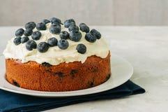 Le gâteau de myrtille de crème sure a servi d'un plat sur un CCB blanc de pierre Photographie stock