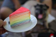 Le gâteau mou de crêpe, la belle crème et la sauce de couleur, bleues, jaunes, vertes, rouges, fouettée à framboise ont mis des p photographie stock libre de droits