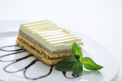 Le gâteau mousseline de fruit avec l'écrimage et la menthe poussent des feuilles du plat blanc, de la photographie de produit pou Image stock