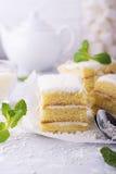 Le gâteau mousseline frais fait maison dans la crème de noix de coco et les flocons sur le festin ont servi dans les parties un f Photos stock