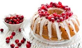 Le gâteau vitré fait maison de canneberge avec les baies fraîches copient l'espace Photo libre de droits