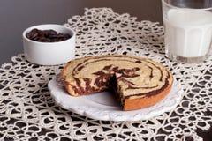 Le gâteau «zèbre», se ferment  Photographie stock libre de droits
