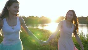 Le går älskvärda flickvänner innehavhänder längs äng längs fjorden lager videofilmer