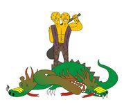 Le géant à deux têtes tue un dragon Image stock