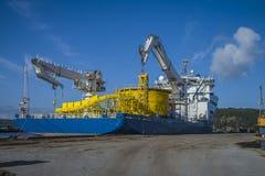 Le géant de la Mer du Nord de système mv amarré au dock au port de halden, ni Photo stock