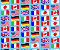 Le G7 sans couture de drapeau de modèle ondulent Photographie stock libre de droits