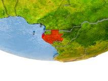 Le Gabon en rouge sur le modèle de la terre Photos stock