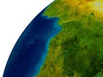 Le Gabon sur le globe Photo libre de droits