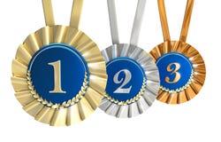 Le gagnant attribue les signes d'or d'argent et de bronze Images libres de droits