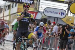 Le gagnant d'étape - Tour de France 2018 Image libre de droits