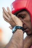 Le gagnant du Cubain Yordan Hernandes du championnat 2014 de boxe du monde reçoit l'instruction de l'entraîneur Humberto Horta Do Images stock